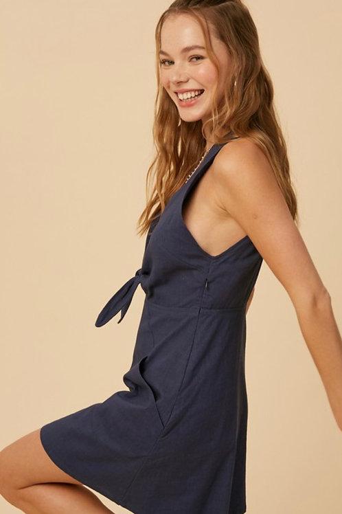 Midnight Linen Dress