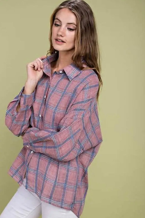 Old Rose Flannel Top