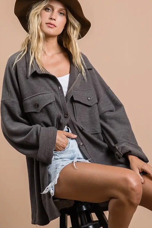 Charcoal Button Down Top