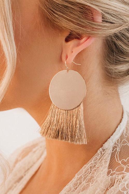 Gold Circle Tassel Earrings