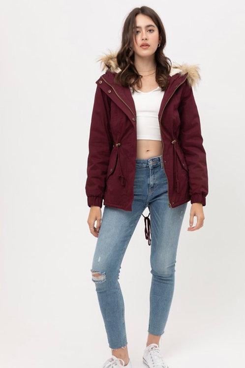 Wine Faux Fur Jacket