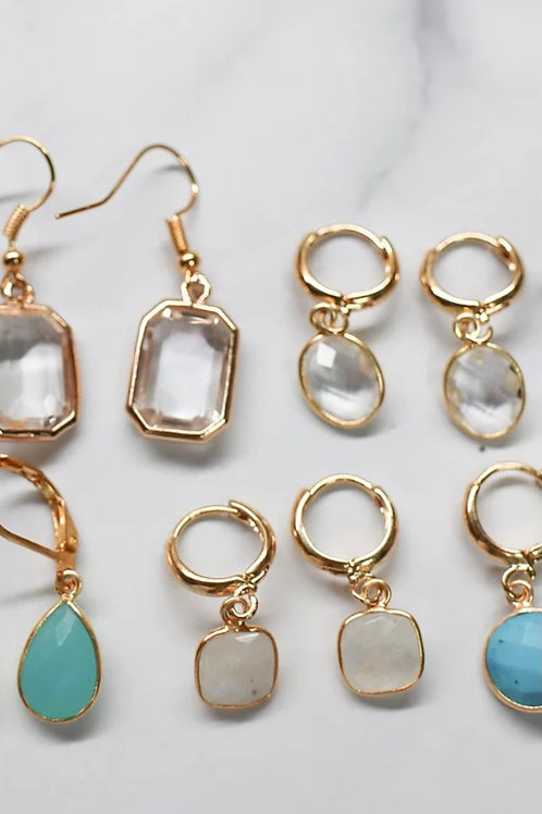 Gold Gemstone Hoops