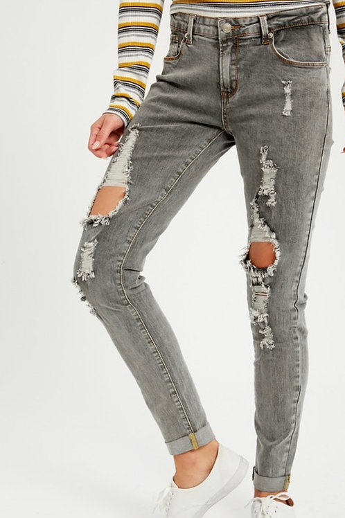 Charcoal Distressed Jeans