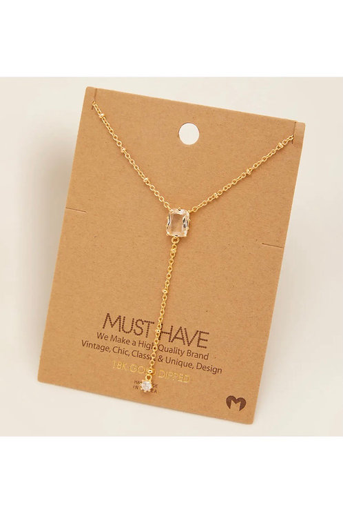 Clear Crystal Necklace (silver)