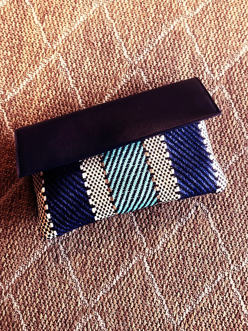 Striped with Blues Clutch