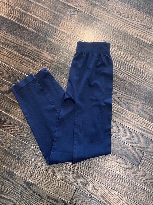 Navy Fleece Cropped Leggings