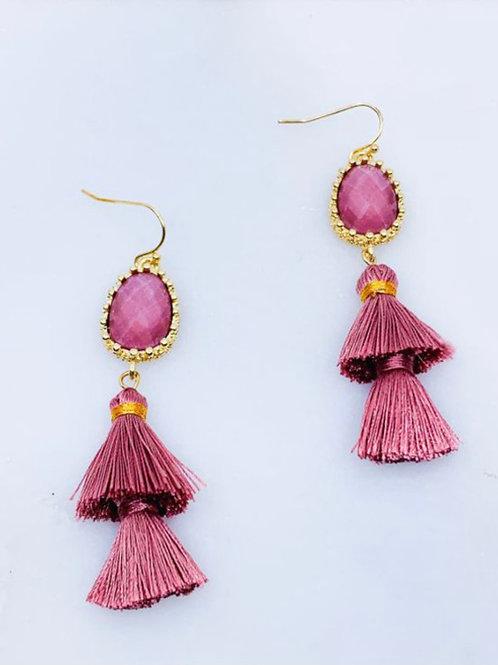 Dark Pink Tiered Earrings