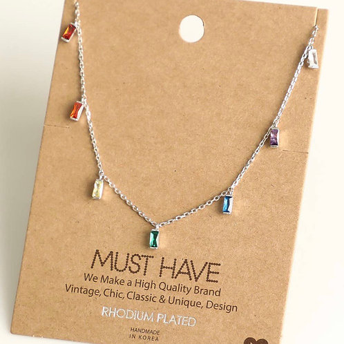 Rainbow Studded Necklace