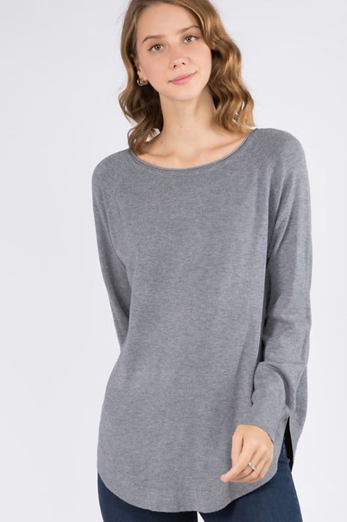 Heather Blue Rounded Sweater