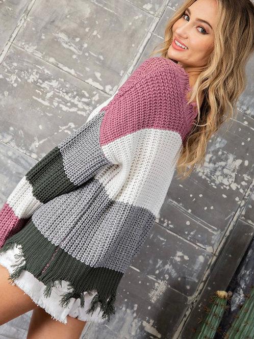 Hunter Green Striped Sweater