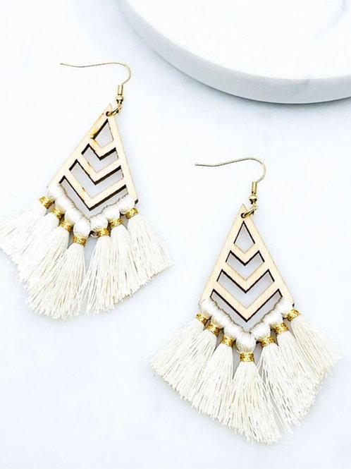 Ivory Wood Chevron Earrings