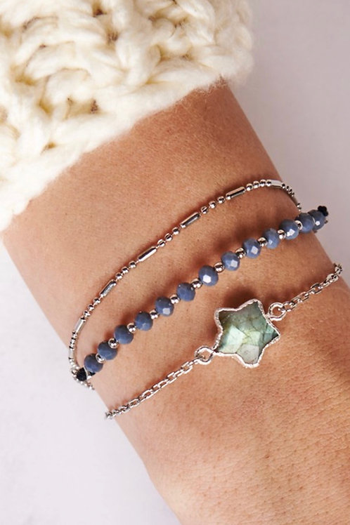 Silver & Blue Stones Bracelets