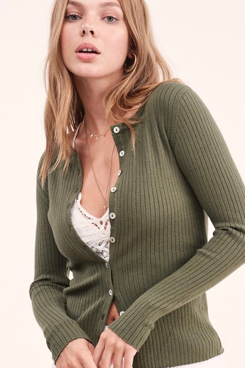 Olive Buttoned Sweater