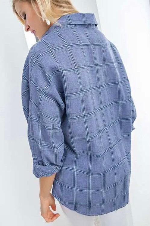 Blue Skies Flannel Top