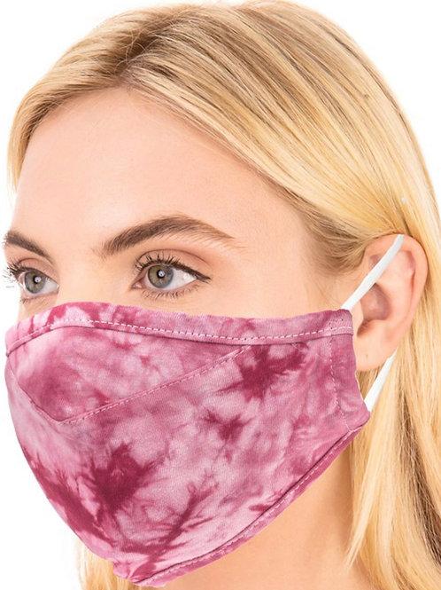 Burgundy Tie Dye Mask