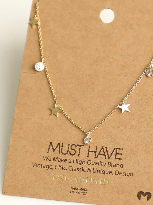 Star Stud Charm Necklace