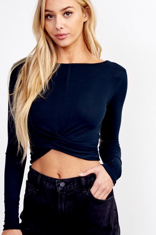 Navy Twisted Top