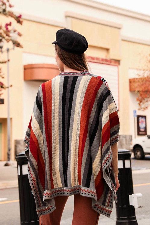 Red Vertical Stripes Ruana