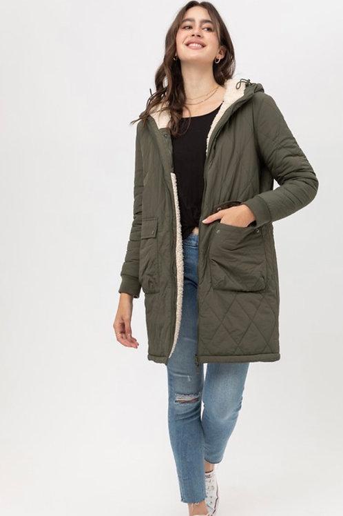 Olive & Natural Reversible Coat