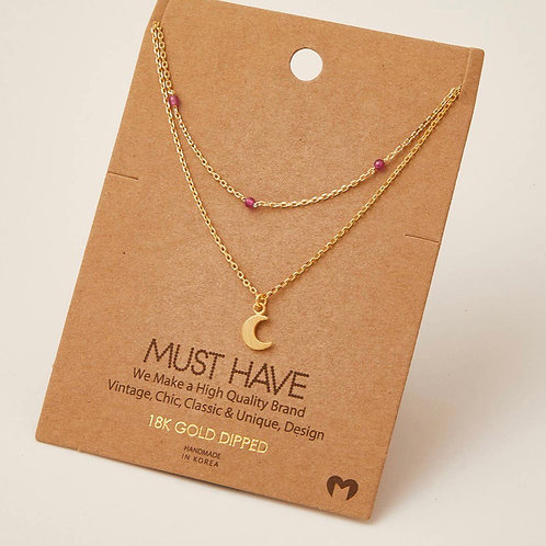 Pink Moon Charm Necklace