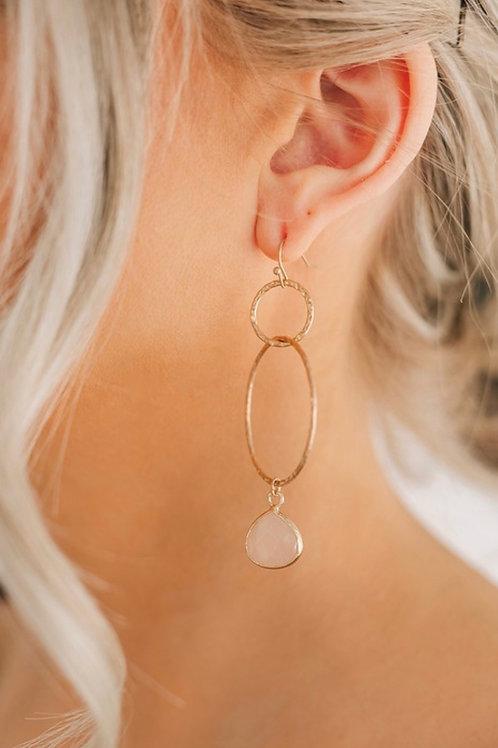 Pink Gemstone Hoops