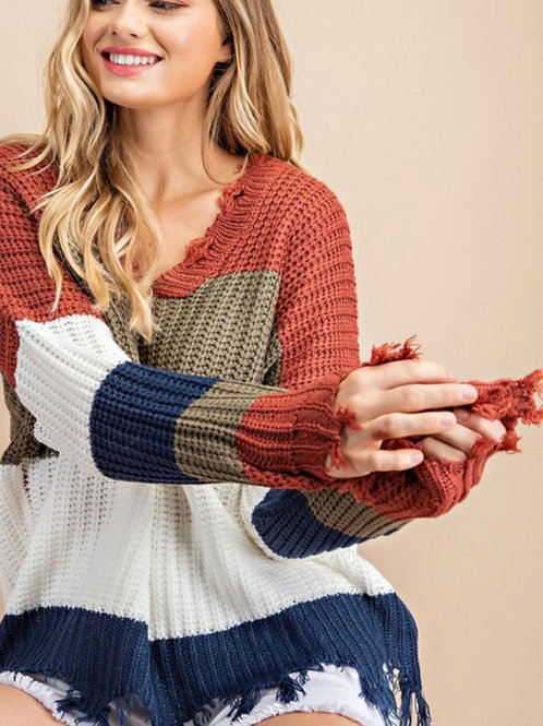 Olive & Ivory Striped Sweater