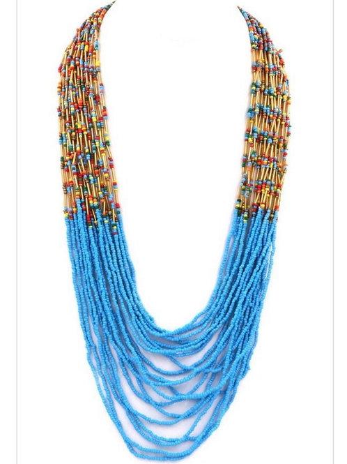 Blue Mermaid Beaded Necklace