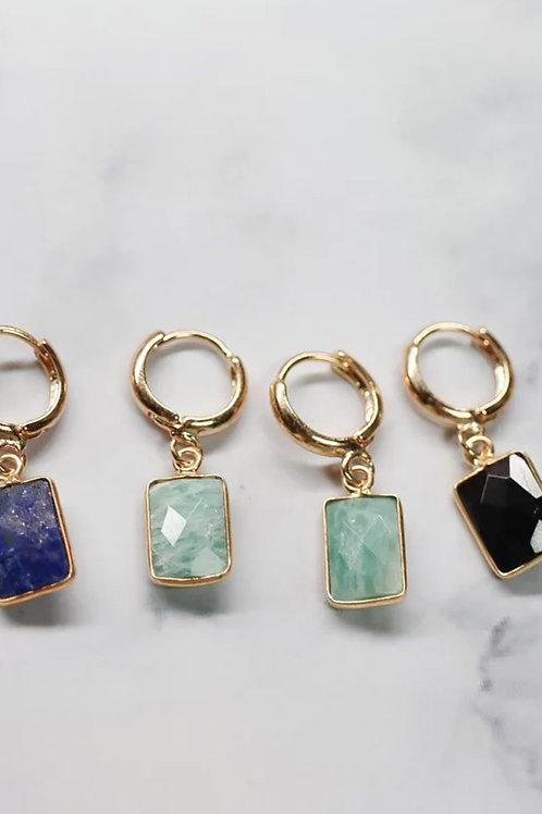Blue Square Gemstone Hoops