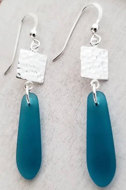 Teal Tile Earrings