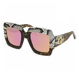 Gucci GG0484S-006  Python Skin Havana/Pink Mirrored Limited Edition