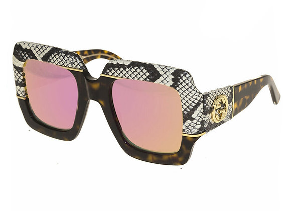 Gucci GG0484S-006  Python Skin Havana/Pink Mirrored Limited Edition