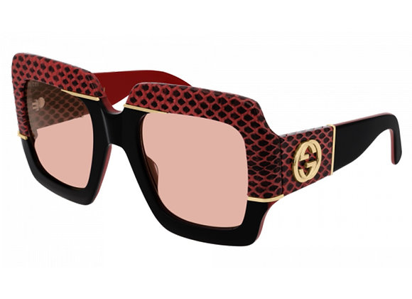 Gucci GG0484S-004 Python Skin Red/Black/Pink Limited Edition