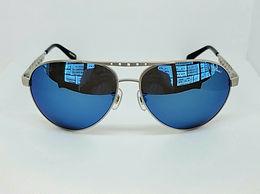 Chopard SCHB01S Sunglasses Blue Mirror/Silver