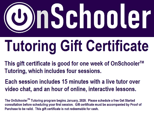 Gift Certificate:  One Week of Tutoring