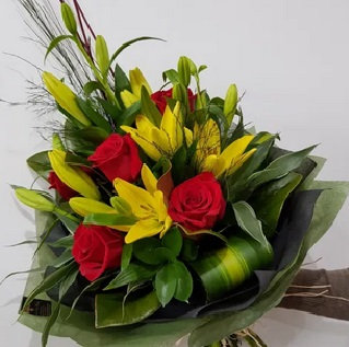 Yellow Lillies with Red Roses