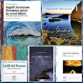 Collage fotografico delle cover dei libri di Emanuele Marcuccio