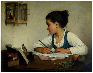 Henriette Browne (1829-1901), «Ragazza che scrive» (1860-1880), opera conservata al Victoria and Albert Museum di Londra.