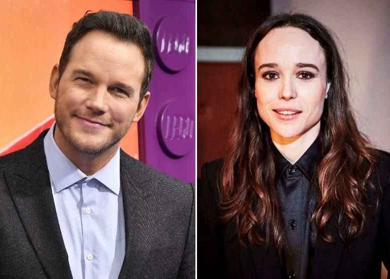 Chris Pratt, left, and Ellen Page, right.
