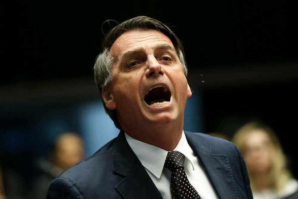Jair Bolsonaro, totally not looking like an insane person.