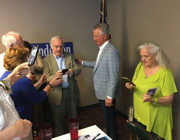 Former Auburn University football coach Tommy Tuberville talks to voters in Montgomery on July 23, 2019. (Mike Cason/mcason@al.com).