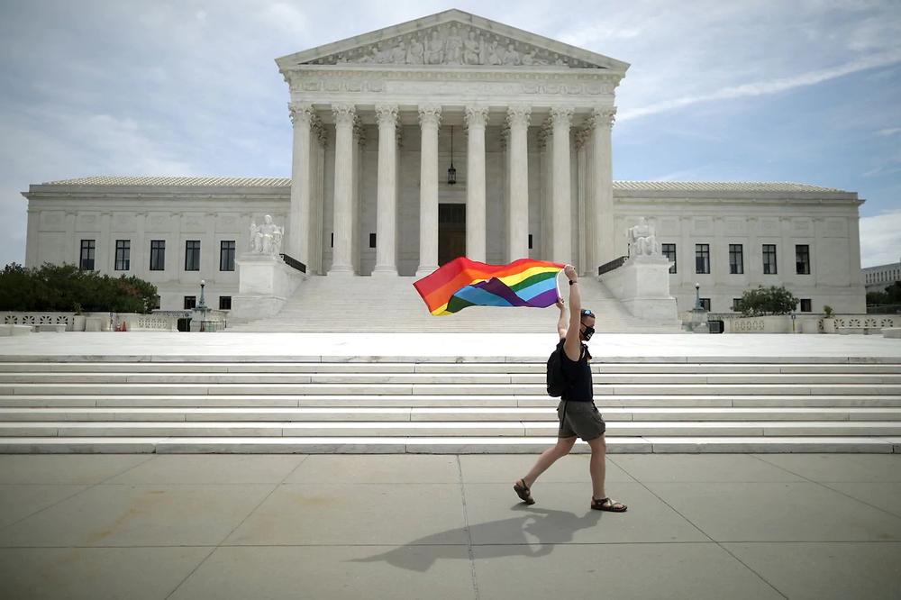 Joseph Fons celebrates the Supreme Court's landmark decision on Monday in Washington. (Chip Somodevilla/Getty Images)