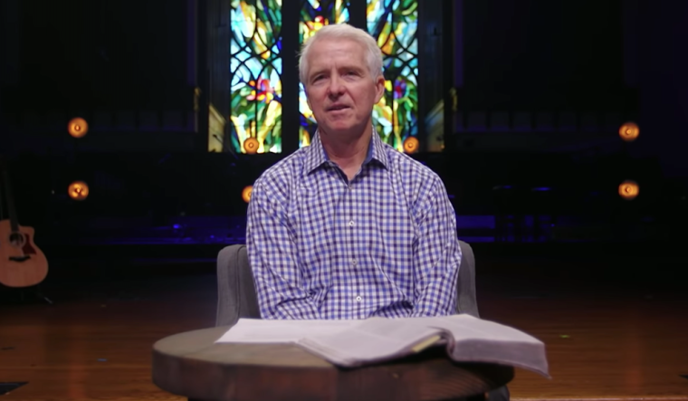 Senior Pastor John Ortberg Jr., preaching in June, 2020. He allegedly protected his son, and allowed him to work with children for years after knowing he was attracted to children. (Source: YouTube/Menlo Church)