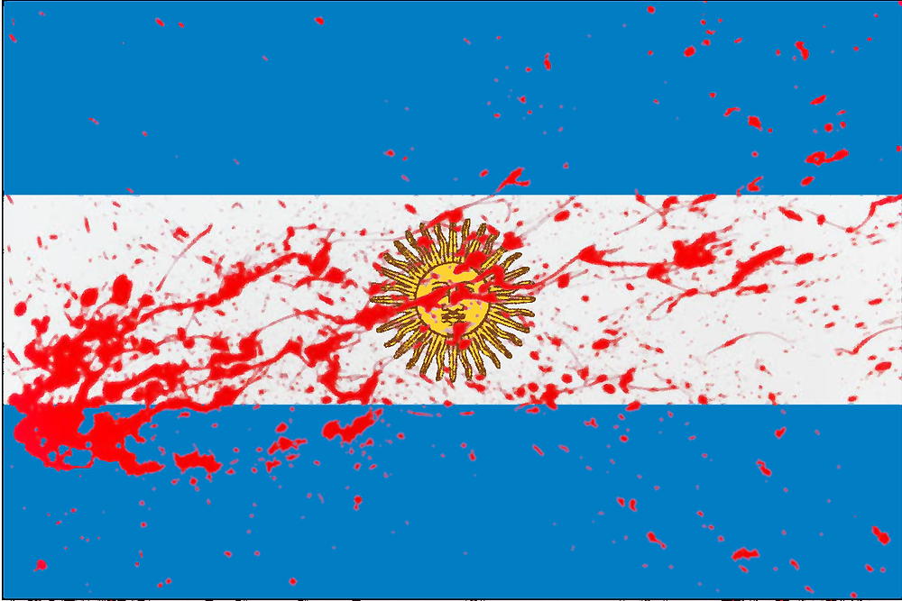 The flag of Argentina, smeared in the blood of those who suffer...