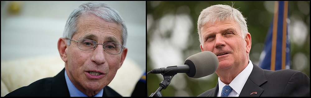 Dr. Anthony Fauci (left) and Franklin Graham (right).