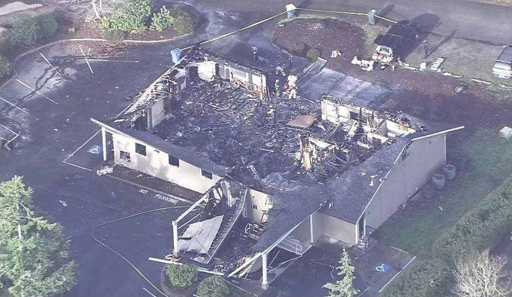 What remains of the Jehovah's Witnesses Kingdom Hall in Lacey, WA. Photo courtesy of KIRO7 News.