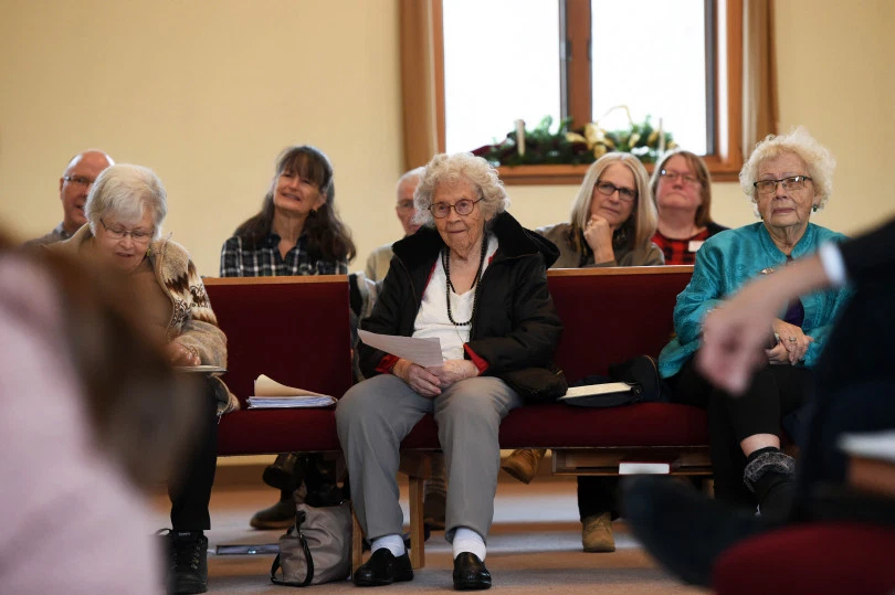 Members of the congregation listens during the Sunday morning worship service at The Grove United Methodist Church in Cottage Grove on Jan. 12, 2020. [Scott Takushi / Pioneer Press]