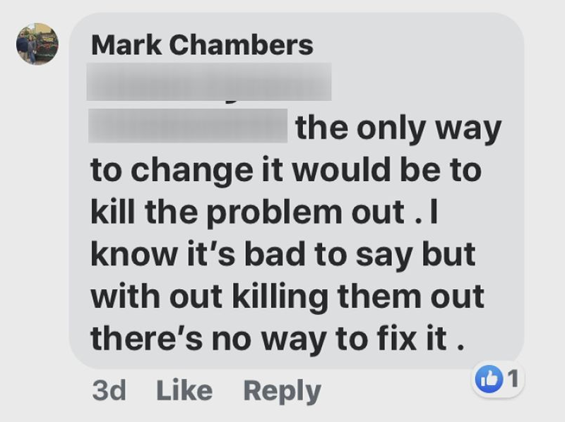 Mayor Mark Chambers' comment on social media.