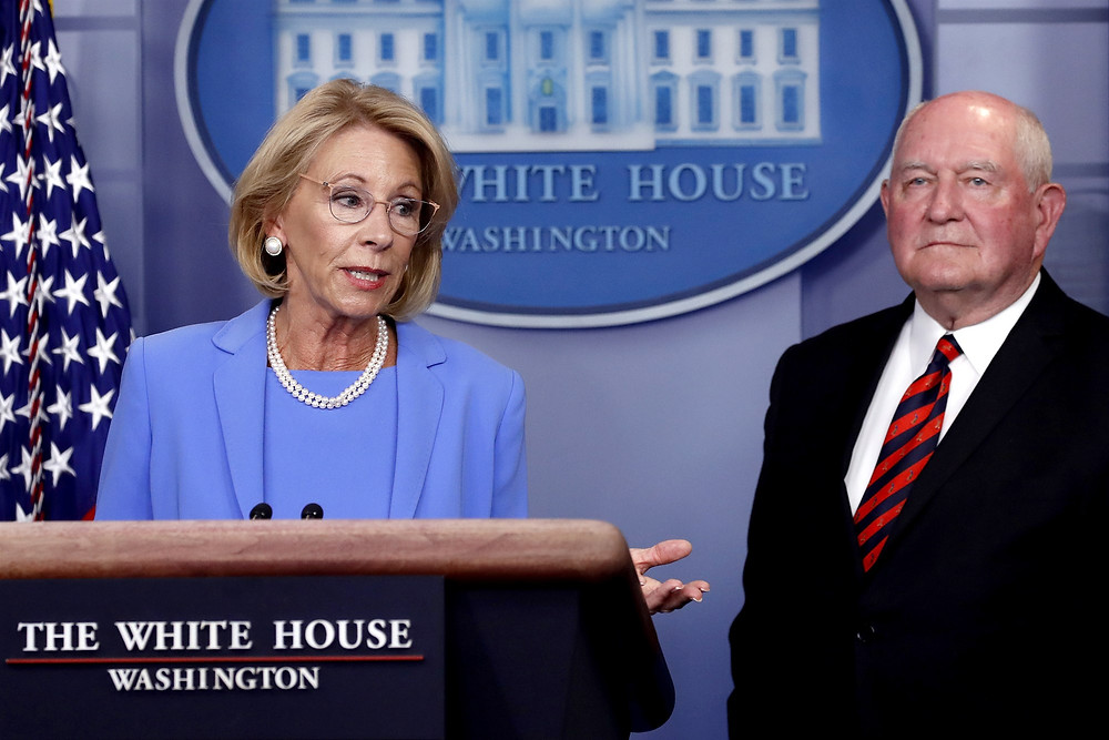 Education Secretary Betsy DeVos speaks about the coronavirus at the White House on March 27, 2020. (Alex Brandon / AP file)