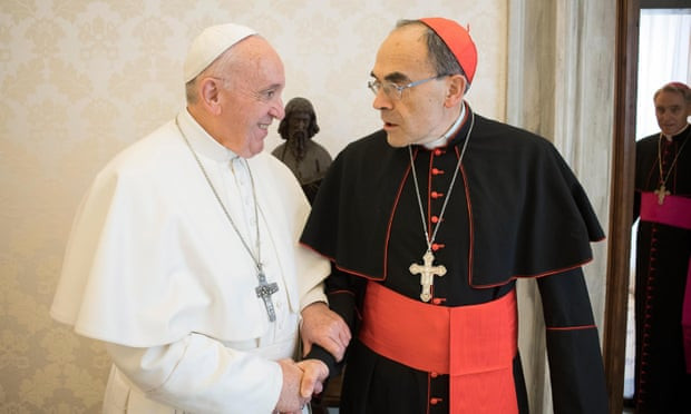 Pope Francis meets with Cardinal Philippe Barbarin in Vatican City on 18 March 2019. Photograph: Vatican/EPA