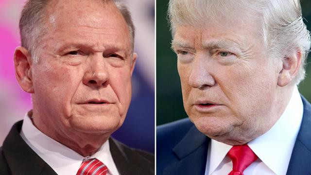Roy Moore, left, and Donald Trump, right.